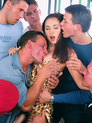 Alexa May satisfies a lot of big cocks in a crazy gangbang