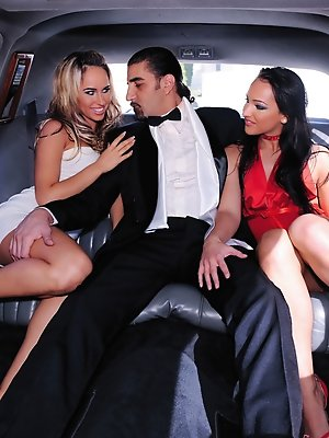 Two hot high class hookers fuck guy in a limo